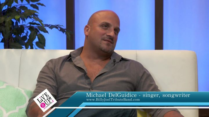 Michael DelGuidice and Donna Drake on the set of Live It Up talk Music & Billy Joel