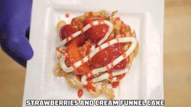 Will It Doughnut: How to Make A Strawberries and Cream Funnel Cake