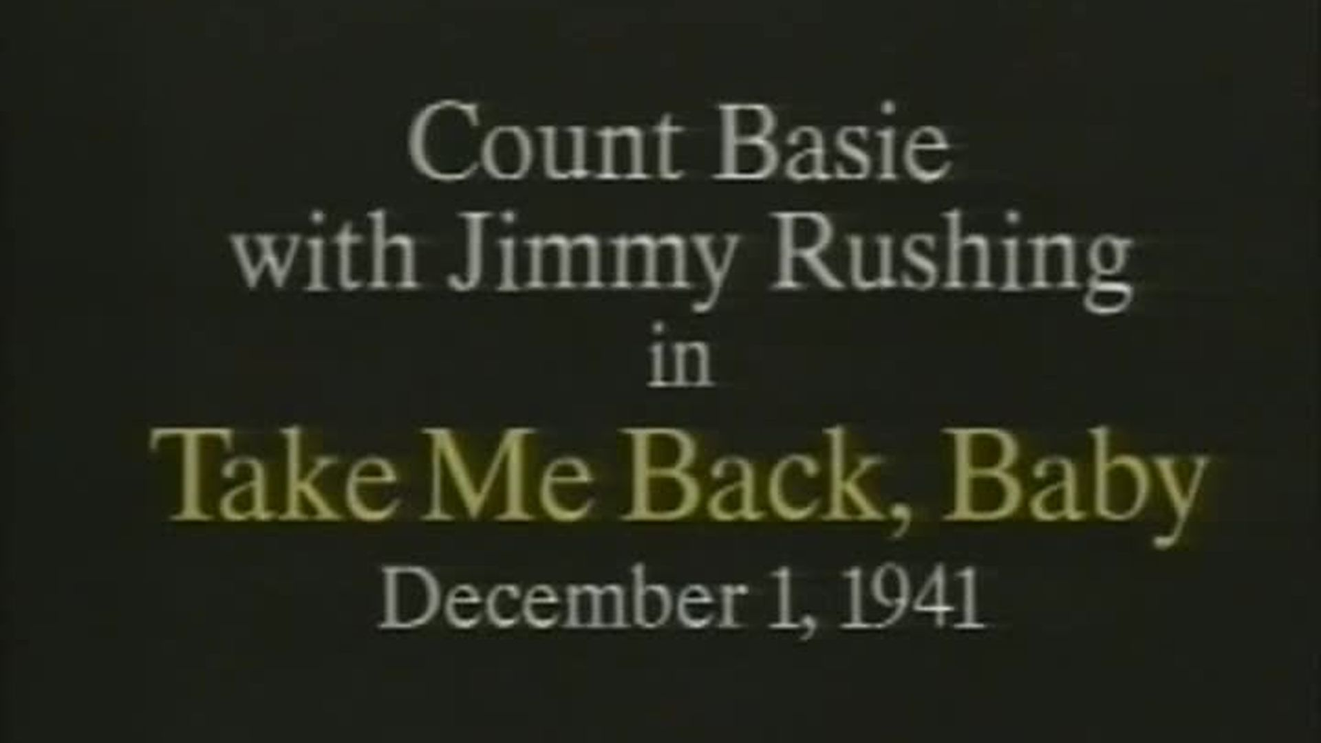 Count Basie - Take Me Back Baby