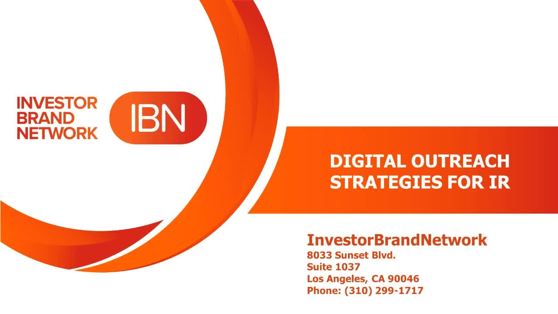 Investor Summit Presentation: Digital Outreach Strategies for IR