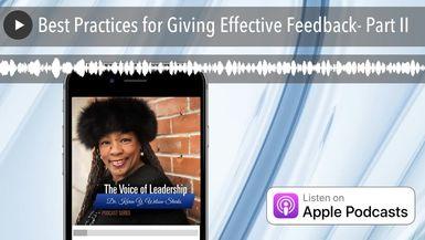 Best Practices for Giving Effective Feedback- Part II