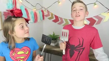 Brother vs Sister Superhero Pancake Art Challenge Kids Cooking and Crafts.